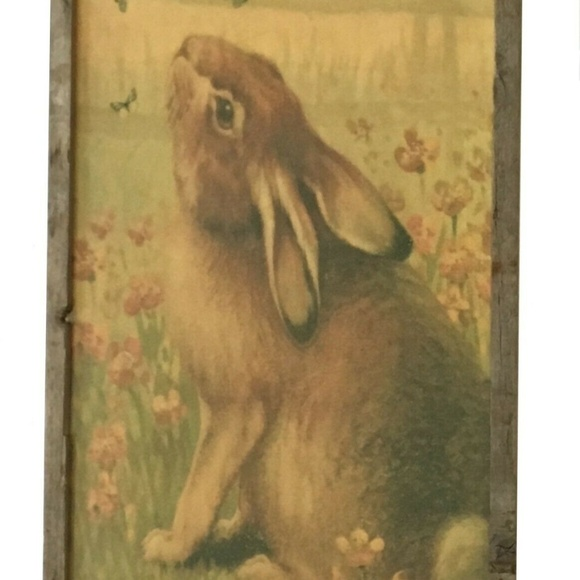 Onlinepartycenter Other - Vintage Bunny Wooden Frame Wall Art